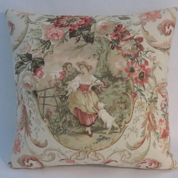 "Fragonard Cameo Toile Pillow, Richloom Fabric in Blush, Lady w/ Dog, 17"" Sq, Peach Coral, Tan Ticking, Discontinued French Country Fabric"