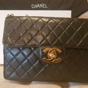 Authentic Chanel Black Lambskin Jumbo Quilted Classic Flap Bag 2