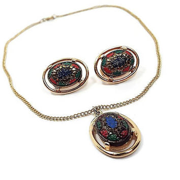 Sarah Coventry Vintage Jewelry Set Pendant Necklace Clip on Earrings Multi Color Gold Tone Mid Century