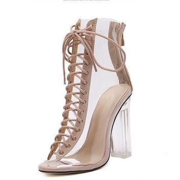 New Sexy Transparent Gladiator Sandals Peep Toe Shoes Clear Chunky heels Sandals Mujer Women Boots Jelly Rain Boots