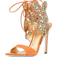 Multi-Crystal Crown Ankle Wrap Sandal, Orange - Rene Caovilla - Orange (38.0B/8.0B)