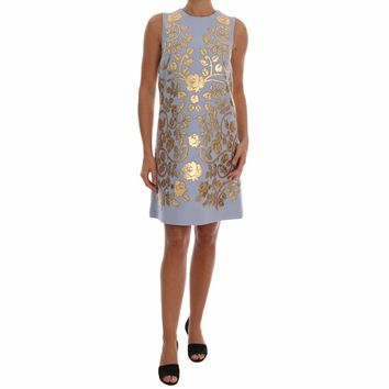 Dolce & Gabbana Blue Wool Gold Floral Leather Crystal Dress