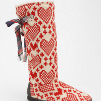 MUK LUKS Grace Heart Slipper-Sock Boot - Urban Outfitters