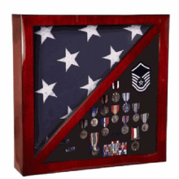 Cherry Flag and Medal Display Case Premium Wood Hand Made By Veterans