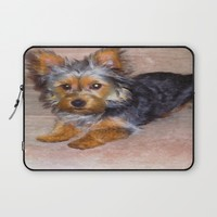 Silky Terrier Puppy - rendered as watercolor Laptop Sleeve by Scott Hervieux   Society6