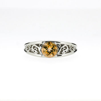 Citrine filigree ring, engagement ring, citrine solitaire ring, unique engagement ring, yellow gemstone, white gold, yellow gold, citrine