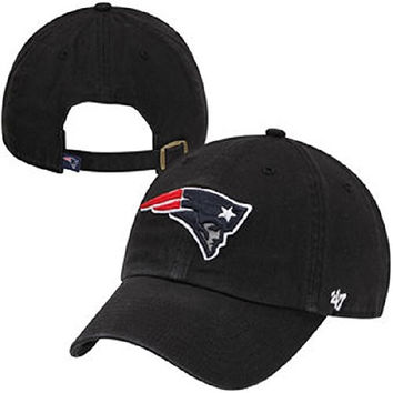 NFL New England Patriots '47 Brand Clean Up Black Adjustable Slouch Hat / Cap