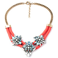 Women Floral Bib Adjustable Necklace