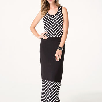 bebe Womens Logo V-Stripe Maxi Dress Black White