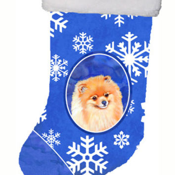 Pomeranian Winter Snowflakes Snowflakes Holiday Christmas Stocking LH9305