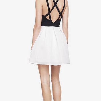 black and white mesh skirt fit and flare dress from EXPRESS