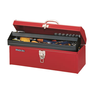"""Stack-On 19"""" Multi-Purpose Hip Roof Tool Box - Red"""