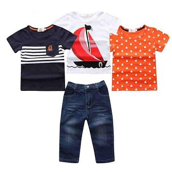 New boys clothes Short Sleeve + Denim Pants in Summer Clothing Sets