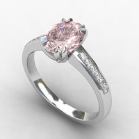 Morganite ring, engagement ring, oval cut, white gold, pink engagement, diamond ring, solitaire, unique, micro pave
