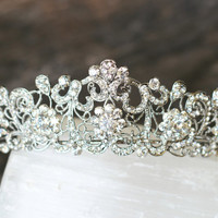 Swarovski Crystal Filigree Bridal Tiara, Crystal Wedding Crown, Rhinestone Tiara, Wedding Tiara, Diamante Crown Diadem, Princess Bride Tiara
