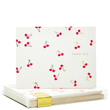 Cherries Gold Foil Noteset