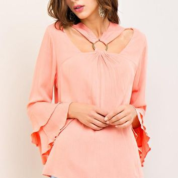 Crinkled A-line top with ruffled bell sleeves & front & back cut outs - Peach