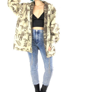 90s Tribal Print Wool Coat Winter Hooded Jacket Button Up Hoodie Ethnic Aztec Men Print Cream Wool Southwest Grunge Unisex Blanket  (M/L/XL)