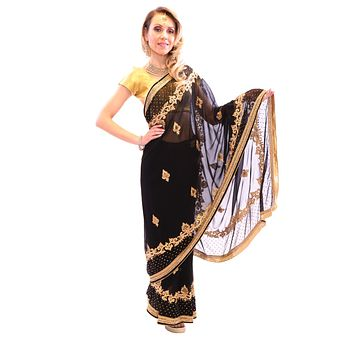 Glossy black with Gold Embroidered Pre-Pleated Ready-Made Sari - 2020-02
