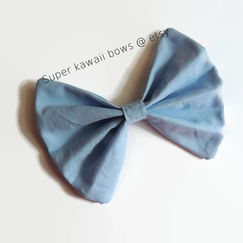 Periwinkle Hair Bow, Stomach Cancer Awareness