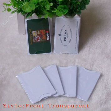 Free shipping 5pcs Transparent  PVC hard plastic card holder ,  Card Protector,waterproof storage to bank cards ,OEM welcome