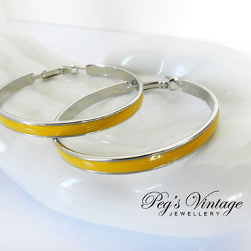 Vintage Yellow Enamel Pierced Hoop Earrings