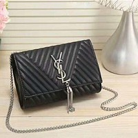YSL New fashion leather women letter tassel leisure shoulder bag Black