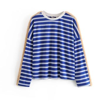 Comfortable big loose contrast stripes Stripe top stitching T-shirt