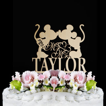 Rustic Wedding Cake Topper,disney cake topper, mr and mrs with personalized Wedding cake topper, Wooden Monogram Cake Toppers
