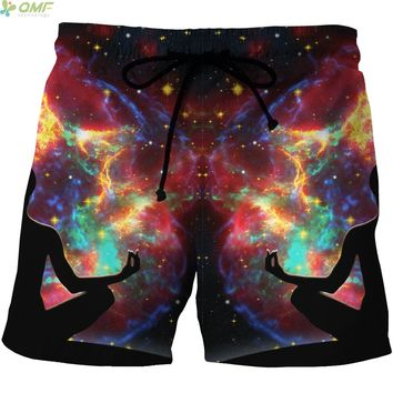 Harajuku Galaxy Meditation Pattern Surf Beach Shorts Quick Dry Men Mesh Short Pants Summer Sports Gym Running Boardshorts S-4XL