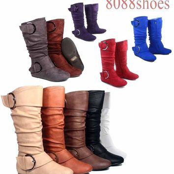 Women's Flat Zipper Buckle Slouchy Mid-Calf Knee High Boot Shoes Size 5 - 11 NEW   1