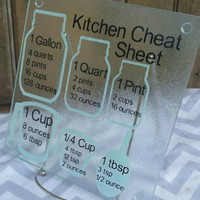Cooking measurement conversions cutting board,  kitchen cheat sheet, decorative glass cutting board, housewarming gift, kitchen conversion