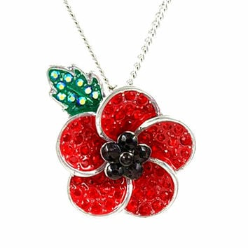 Silver Plated Red and Black Rhinestone Crystal With Leaf Poppy Jewellery Brooches and Pins