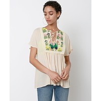 Beauty Of Day Blouse - Beige Floral