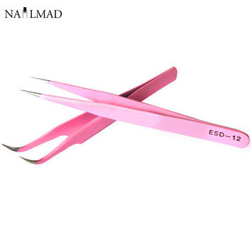 2pcs Straight + Curved Tweezers Nail Art False Fake Eyelashes Extension Tweezers Nippers Pointed Clip Nail Art Tools