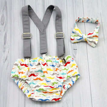Gray Suspenders, multi color Mustache bow tie and Diaper cover set. Boy Photo prop cake smash, wedding,fathers day