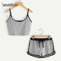 SweatyRocks Ringer Crop Cami Top With Drawstring Shorts 2018 New Sleeveless Spaghetti Strap Woman  Summer Two Piece Set