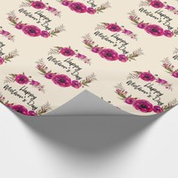 Fuchsia Poppies Floral Wreath Happy Mother's Day Wrapping Paper