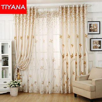 Rustic Curtain Drape For Living Room Fashion Floral Blackout Curtains Cloth Tulle For Kids Bedroom Leaves Design Cortina wp396&2