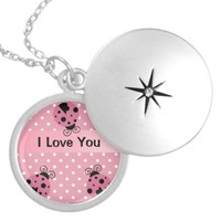 Pink Ladybug and Polka Dots Silver Plated Necklace