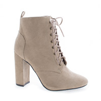 Eminent Lt Taupe F-Suede by Delicious, Light Taupe Gray Suede Almond Toe Lace Up High Heel Ankle Boots