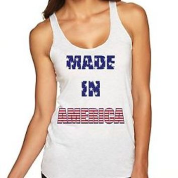 Women's Triblend Racerback Tank Made In America 4th Of July Shirt Party