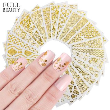 Full Beauty 20pcs Shinny  3D Sticker Nails Art Gold Glitter Adhesive Flower Vine for Manicure Tips Mix Nail Decals CHAD301-326