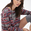 Striped Tribal Print Pullover
