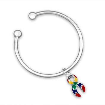 Open Bangle Bracelet with Large Autism ASD Ribbon Charm