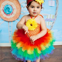Rainbow Tutu Dress, Over the Rainbow, Rainbow Tutu, Tu Tu, 1st Birthday, 2nd Birthday, Rainbow Birthday, Rainbow Brite, OOC, Pageant Dress