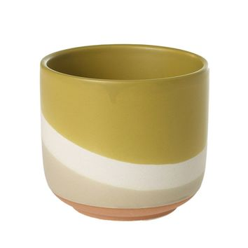 "Small Yellow Gold Striped Colorway Ceramic Flower Pot - 3.5"" Tall x 4"" Wide"