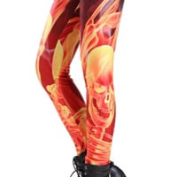 Skeleton Flames Leggings Design 221