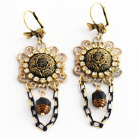 Perfect Gift Earrings, Black and Gold Elegant Party Jewelry, Czech Glass and Filigree Earrings, Victorian Earrings, One of a Kind Gift SRAJD