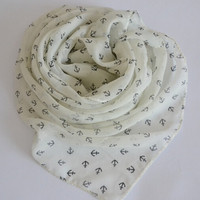 Fashion Navy Style Little Anchors Infinity Scarf = 1957969412